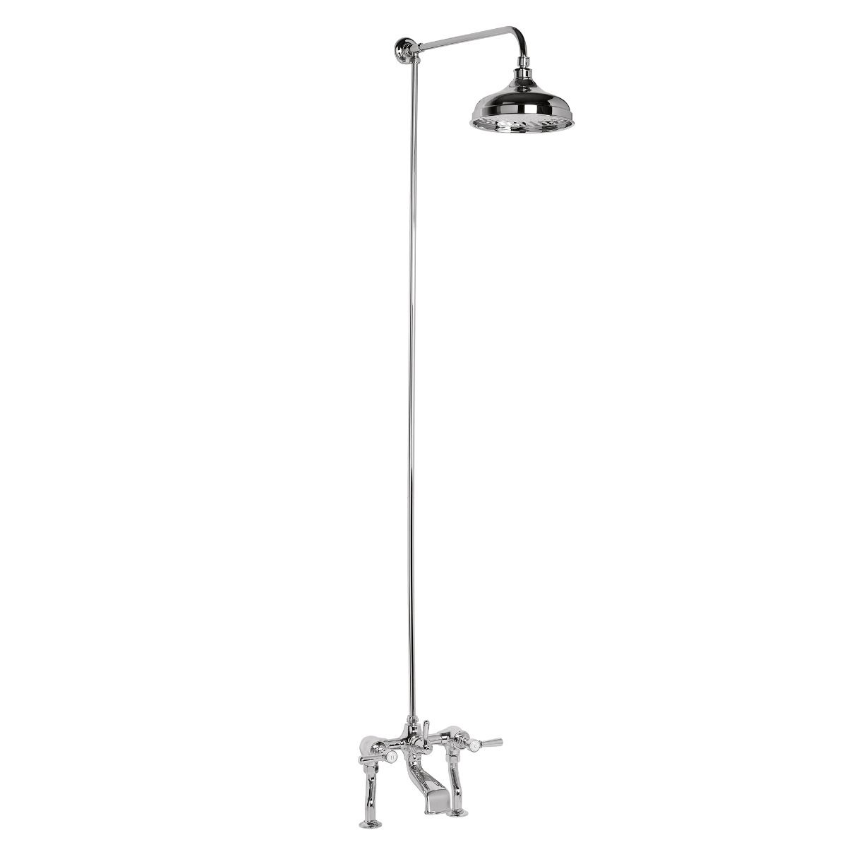Classic Bath Mixer and Overhead Shower with Fixed Riser
