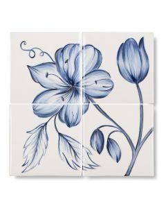 Botanical Blue Panel Panel - 4 Tile Flower