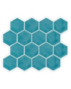 Onda Hexagon Aquamarine 28cm x 32cm