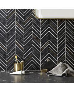 Savoy Black Chevron Mosaic
