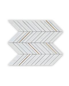 Savoy White Chevron Mosaic