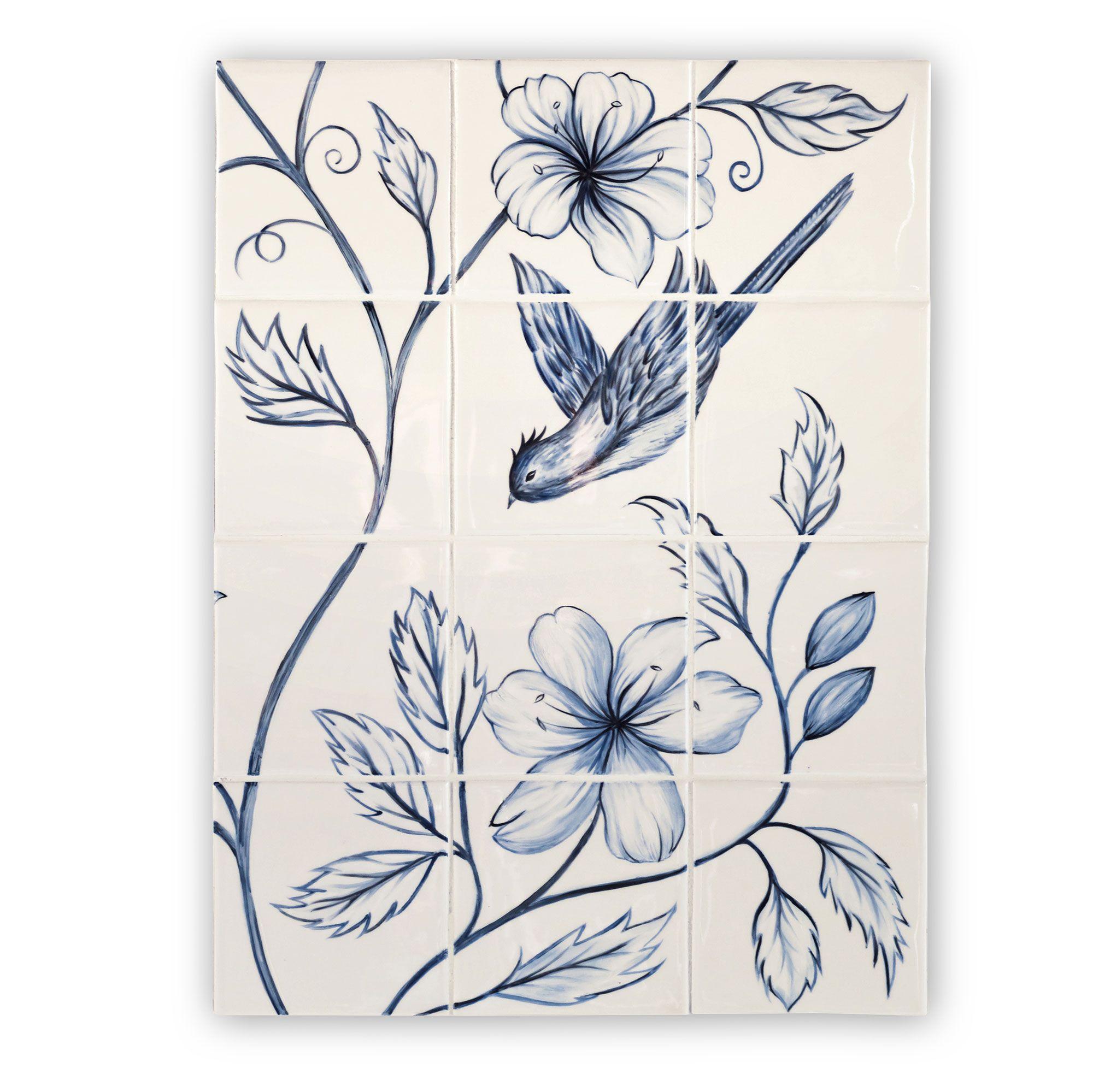 Botanical Blue Panel Panel - 12 Tile