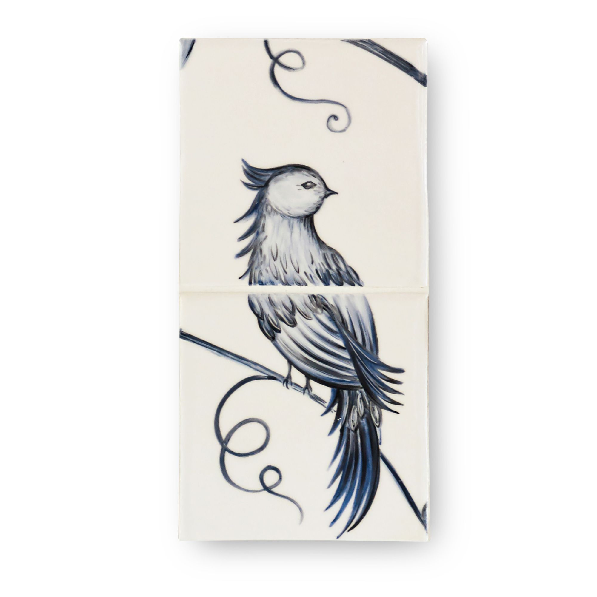 Botanical Blue Panel Panel - 2 Tile Bird