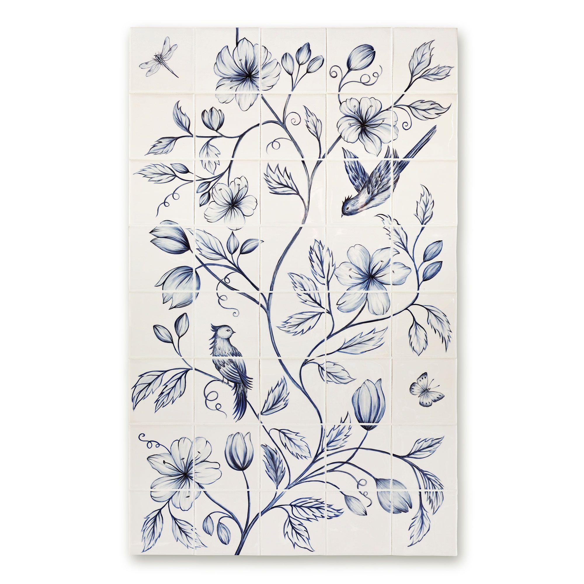 Botanical Blue Panel Panel - 40 Tile