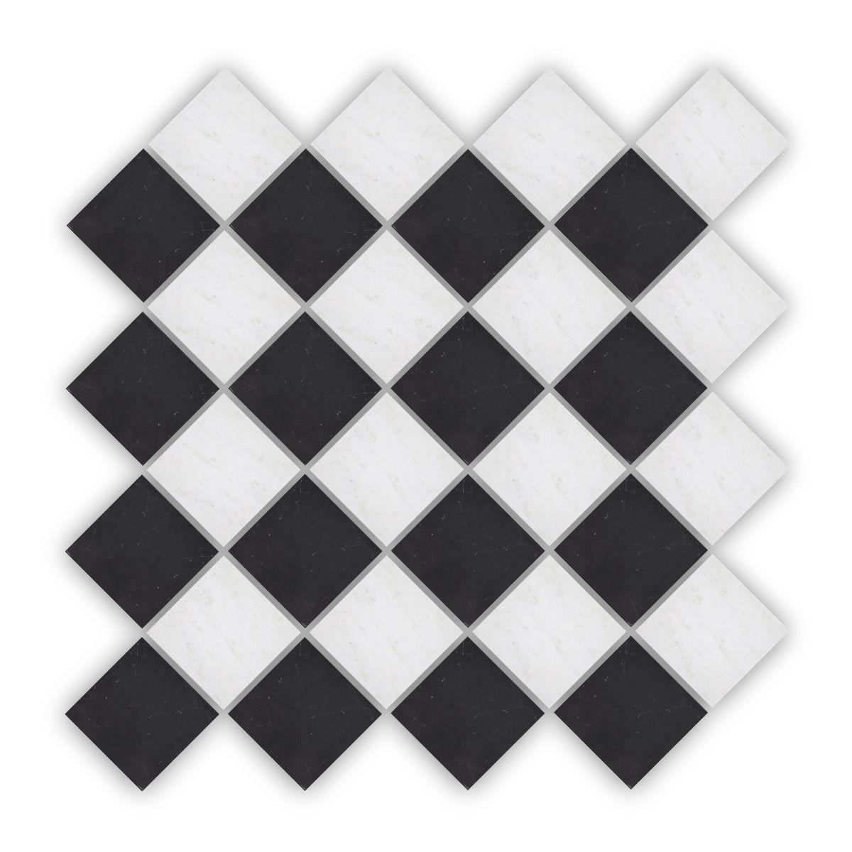 Chequers Court 4.8sq White & Black bevelled edge